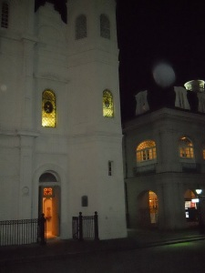 The Presbytere flanks the St. Louis Cathedral in New Orleans.