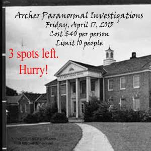 3 spots left for Hawkinsville State Hospital Investigation