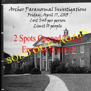 Hawkinsville Investigation is SOLD OUT--Again.
