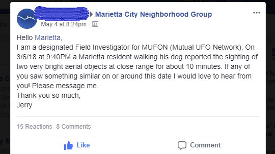 MUFON in Marietta
